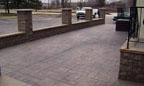Masonry Wall and Stamped Concrete Entry