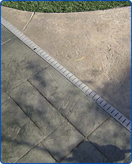 stamped concrete and drain
